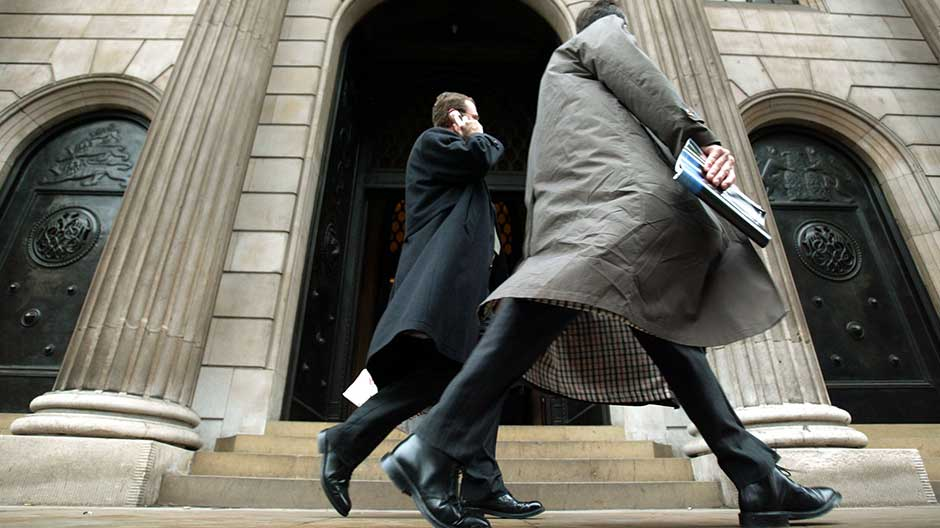 The main entrance to the Bank of England is seen in the City of London, January 13, 2004.