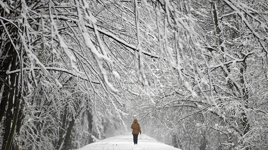 A woman walks through snow covered Mlociny Park following heavy snow fall in Warsaw April 1, 2013.